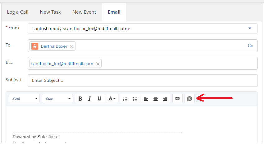 Email Action Toolbar