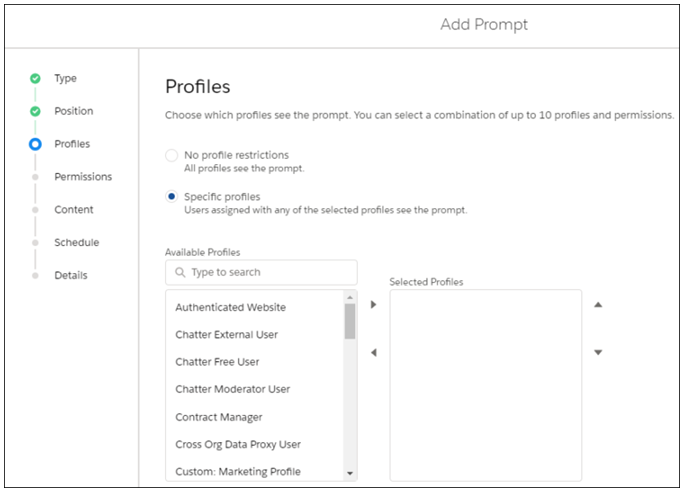 Specify Profiles When Creating Prompts